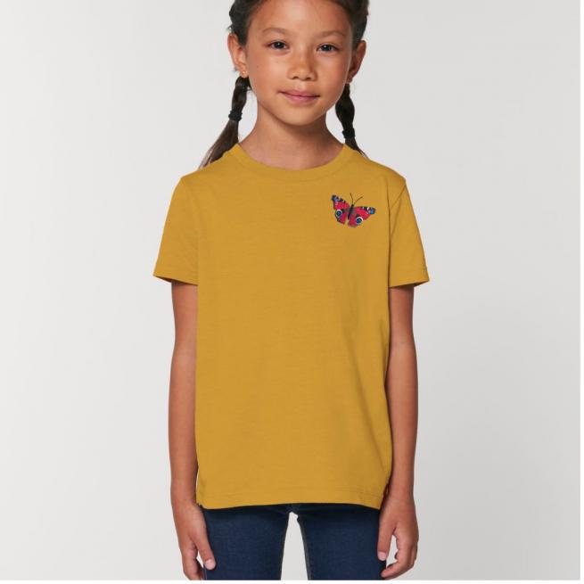 Tommy & Lottie Organic Cotton Kids Ochre Peacock Butterfly T Shirt