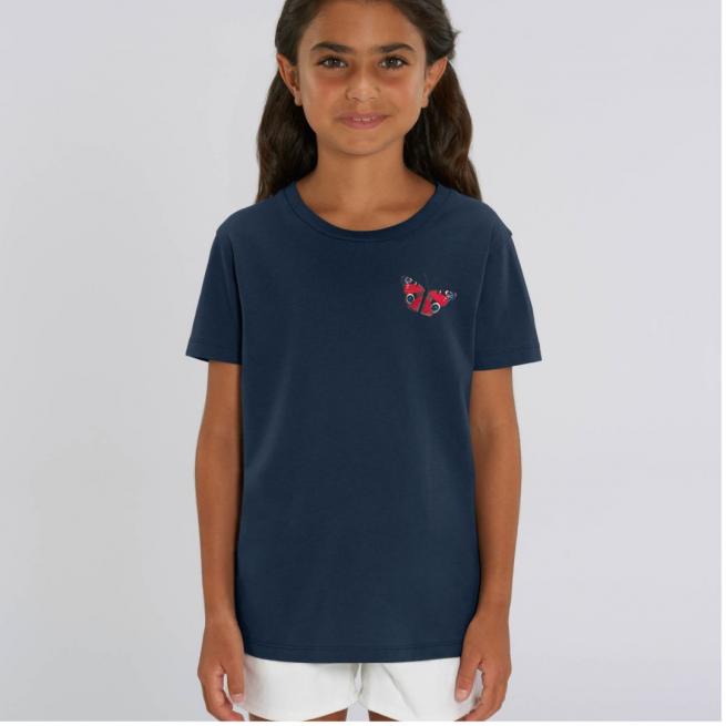 Tommy & Lottie Organic Cotton Kids Peacock Butterfly Navy T Shirt