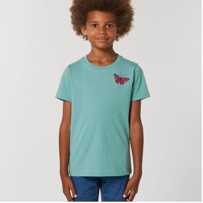 Tommy & Lottie Organic Cotton Kids Teal Monstera Butterfly T Shirt