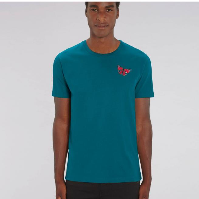 tommy & lottie adults unisex peacock butterfly organic cotton t shirt - stargazer