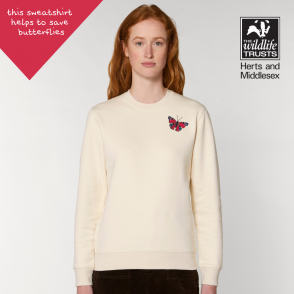 tommy and lottie adults organic cotton peacock butterfly sweatshirt - natural