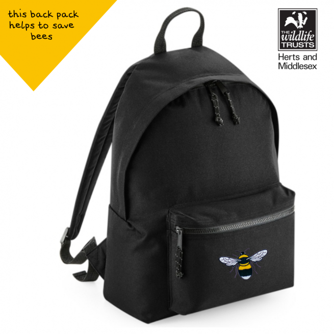 ommy & lottie bee black back pack - made from recycled plastic bottles