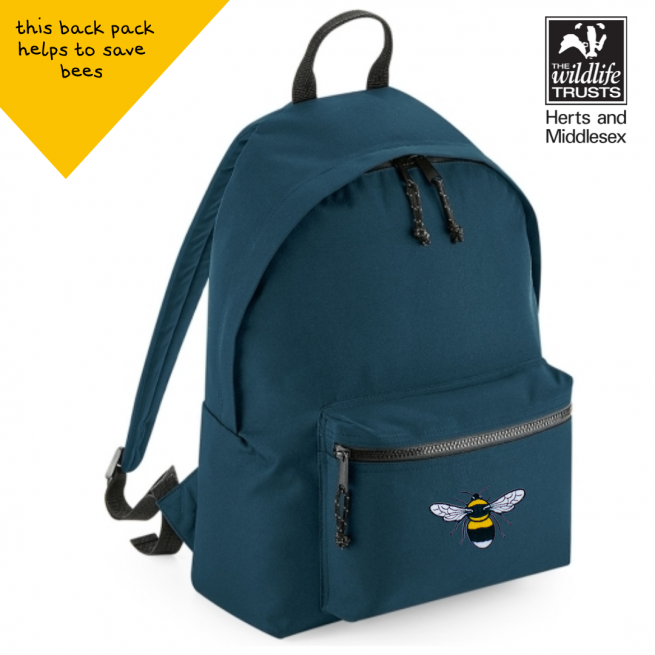 tommy & lottie bee blue back pack - made from recycled plastic bottles