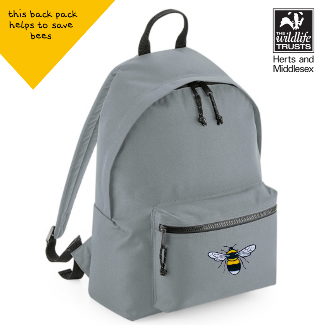 tommy & lottie bee grey back pack - made from recycled plastic bottles