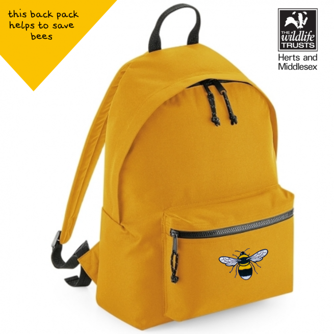 tommy & lottie bee mustard back pack - made from recycled plastic bottles