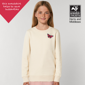 tommy & lottie childrens organic cotton peacock butterfly sweatshirt - natural