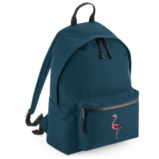 tommy & lottie flamingo blue back pack - made from recycled plastic bottles