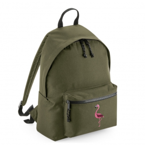 tommy & lottie flamingo khaki back pack - made from recycled plastic bottles