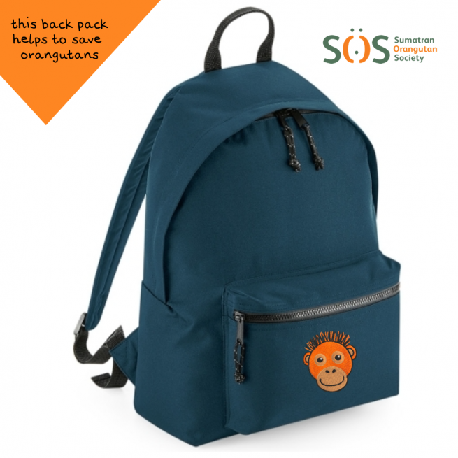 tommy & lottie orangutan blue back pack - made from recycled plastic bottles