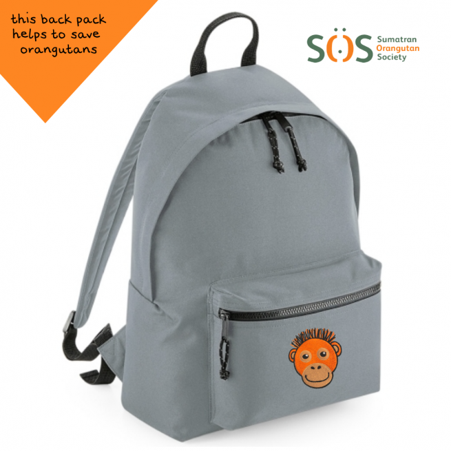 tommy & lottie orangutan grey back pack - made from recycled plastic bottles