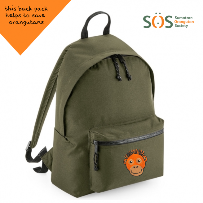 tommy & lottie orangutan khaki back pack - made from recycled plastic bottles