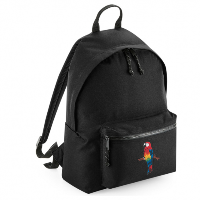 tommy & lottie parrot black back pack - made from recycled plastic bottles