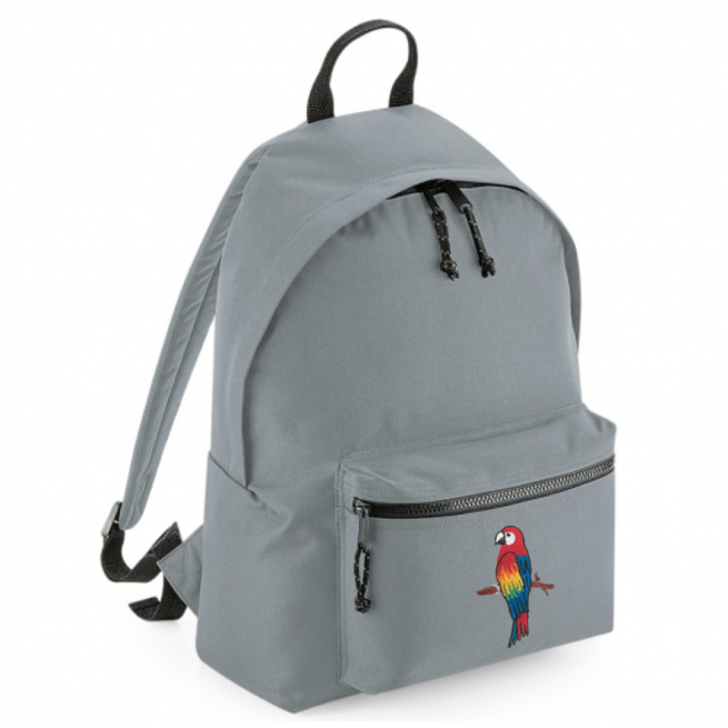 tommy & lottie parrot grey back pack - made from recycled plastic bottles