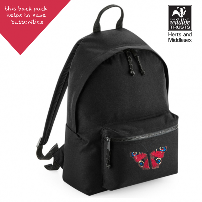 tommy & lottie peacock butterfly black back pack - made from recycled plastic bottles