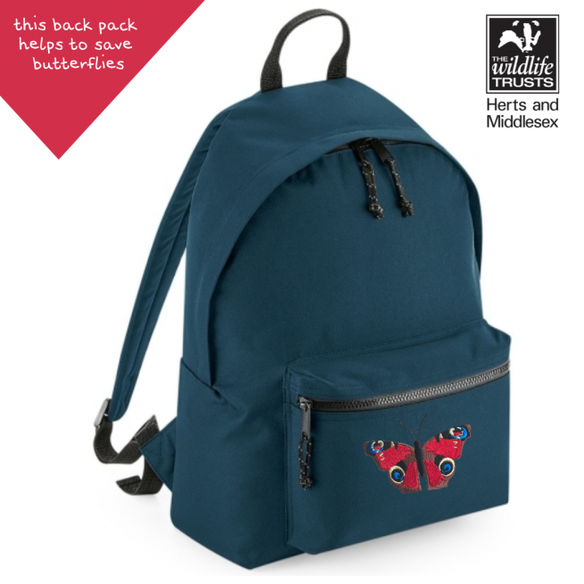 tommy & lottie peacock butterfly blue back pack - made from recycled plastic bottles
