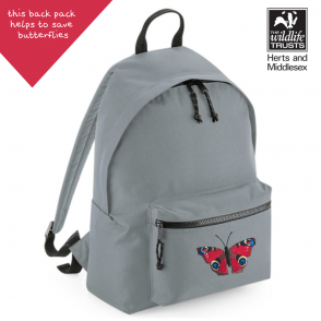 tommy & lottie peacock butterfly grey back pack - made from recycled plastic bottles