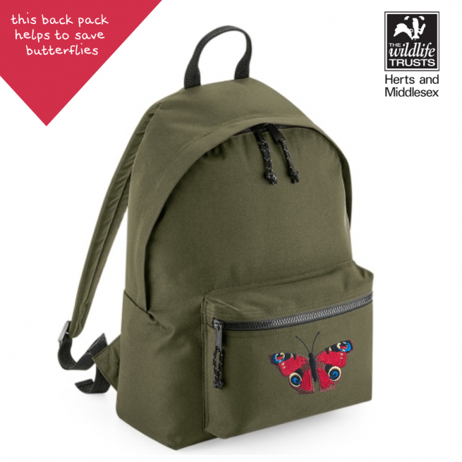 tommy & lottie peacock butterfly khaki back pack - made from recycled plastic bottles