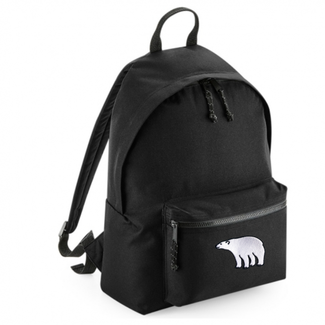 tommy & lottie polar bear black back pack - made from recycled plastic bottles