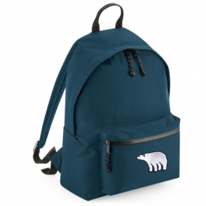 tommy & lottie polar bear blue back pack - made from recycled plastic bottles