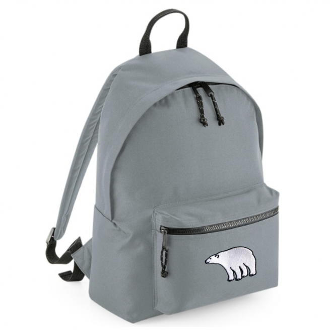 tommy & lottie polar bear grey back pack - made from recycled plastic bottles