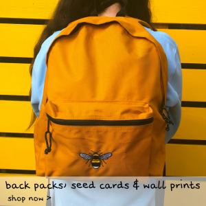 Tommy & Lottie Back Packs, plantable seed cards and wall prints