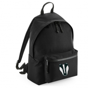 tommy & lottie badger black back pack - made from recycled plastic bottles
