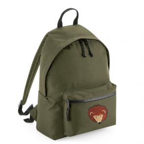 tommy & lottie hedgehog khaki back pack - made from recycled plastic bottles