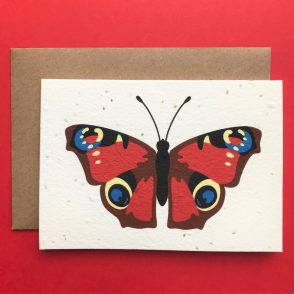 tommy & lottie peacock butterfly plantable seed card