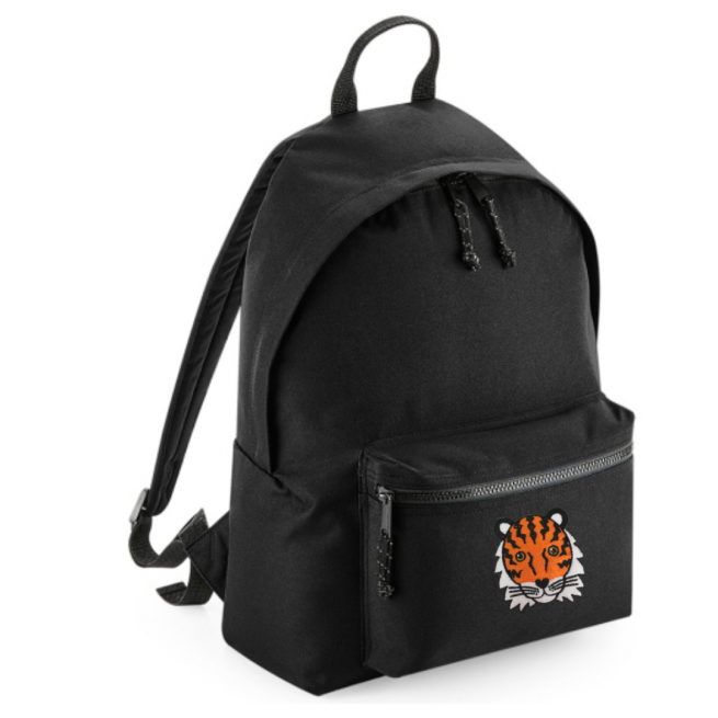 tommy & lottie tiger black back pack - made from recycled plastic bottles