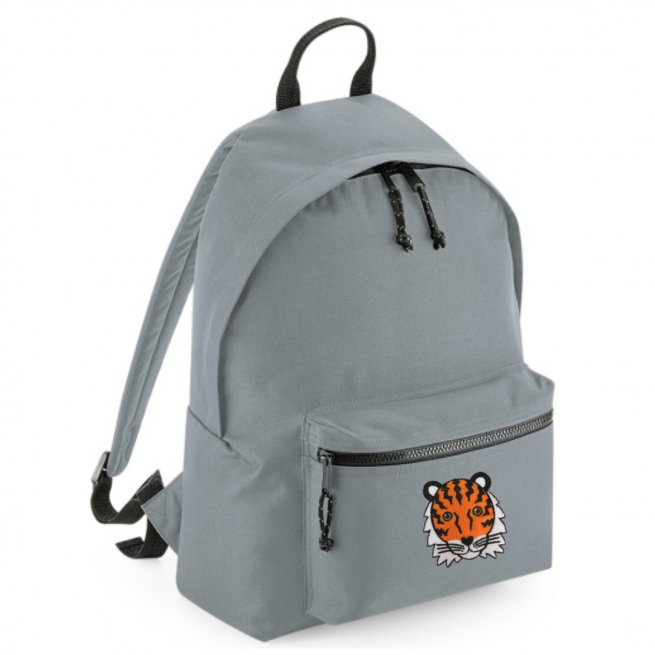 tommy & lottie tiger grey back pack - made from recycled plastic bottles