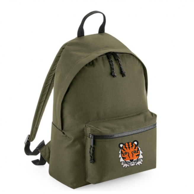 tommy & lottie tiger khaki back pack - made from recycled plastic bottles